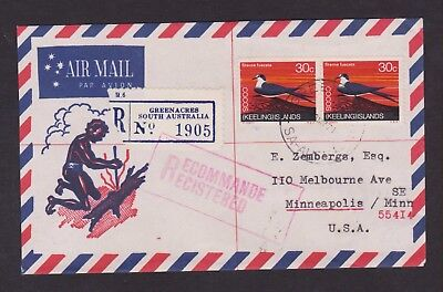 AUSTRALIA 1971 REGISTERED COVER TO USA WITH PAIR COCOS KEELING ISLANDS 30c