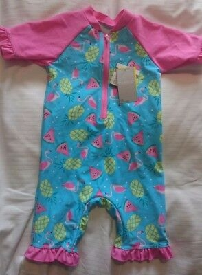 girls flamingo motif swimsuit size 12-18 mnt zipped front and ruffle borders