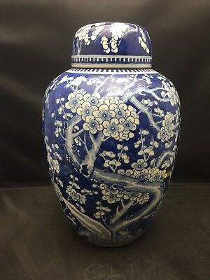 Antique Big Chinese Blue White porcelain Jar With Lid 19th Century