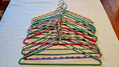 Lot of 12 Vintage handmade crocheted covered heavy wire hangers