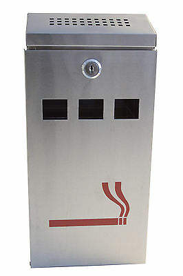 Silver Wall Mounted Ashtray Outdoor Stainless Steel Ash Tray Cigarette Bin