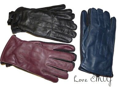 Ladies Womens Premium Quality Genuine Soft Leather Gloves Fleece Lined Driving