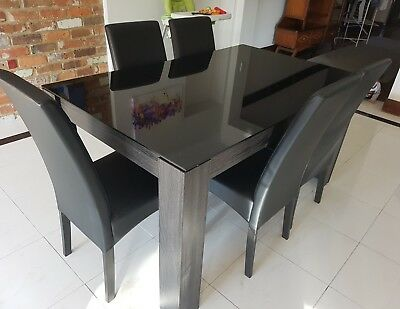 Black dining tables and chairs