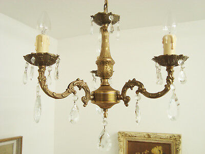 Superb Vintage Glass Droplets Chandelier Light Brass French Lustre Pampilles