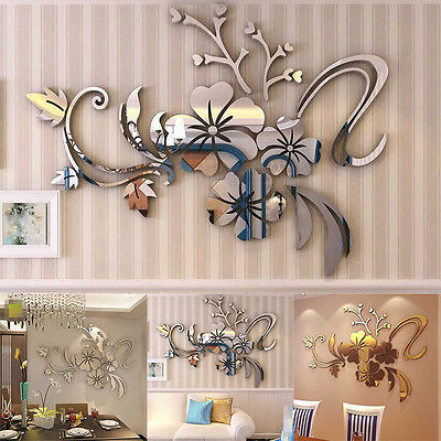 Removable 3d mirror flower art wall sticker acrylic mural for Room decor 6d