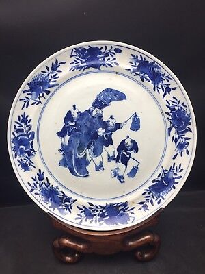 Antique Chinese Blue And White Plate Late Qing Dynasty