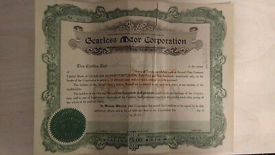 Gearless Motor Company Stock Certificate