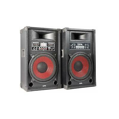 """Pair 12"""" Inch Active Speakers Sd Usb Sub Woofer Dj Disco Pa Party Karaoke 1200W"""