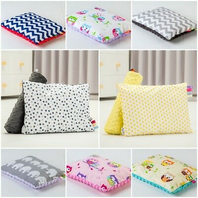 ULTRASOFT MINKY/Y PLUSH BABY PILLOW REVERSIBLE cotton filled FOR CRIB PRAM COT
