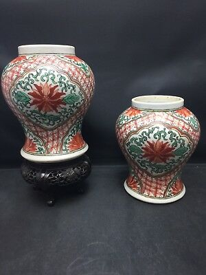 An Pair Antiq Chinese Red And Green Jar Qing Dynasty (2) From Bonhams