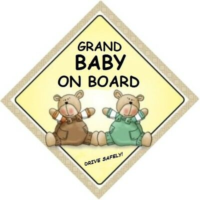 GRAND BABY ON BOARD! - Two Bears  MADE AUSTRALIA - with 2 Peel Strips  FREE POST