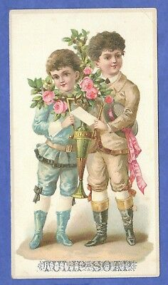 Tulip Soap, 2 Boys, Roses, Victorian Trade Card Late 1800s