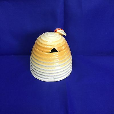 CLARICE CLIFF RARE HONEYPOT WITH BEE ON LID C1930s