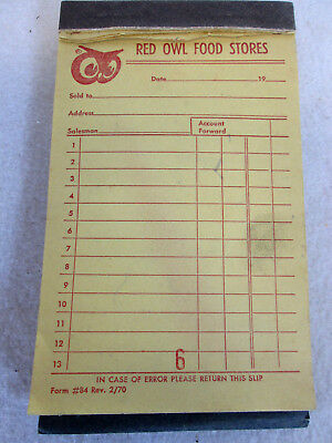 Vintage 1970 Red Owl Food Store carbon copy accounts receipt book