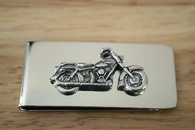 Motorbike Money Clip Quality Silver Plated with Antique Pewter Emblem Mens Gift