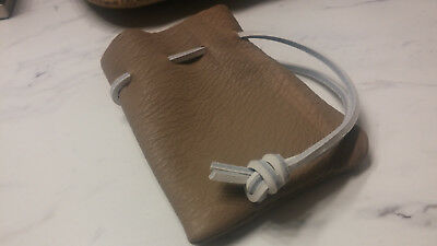 """Hand Stiched Leather Drawstring Pouch - 4"""" x 5"""""""