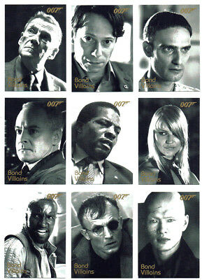 James Bond In Motion Complete 22 Card Bond Villains Chase Card Set F42 to F63