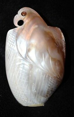 RARE Vtg Hand Carved Mother of Pearl Shell Carving Art BIRD Vase Wall Pocket