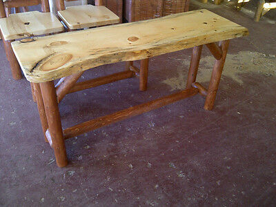Rustic Log Sofa Table solid pine and Cedar furniture bed bench cabin coffee