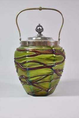 Austrian Iridescent Art Glass Jar Green Purple Silver Plate Frame