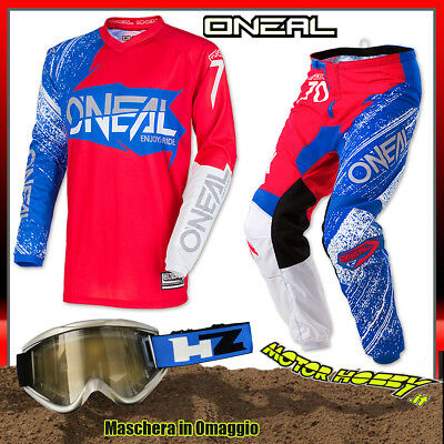Completo Cross Enduro O'neal Oneal Element Burnout Red White Blue Taglia 32--M