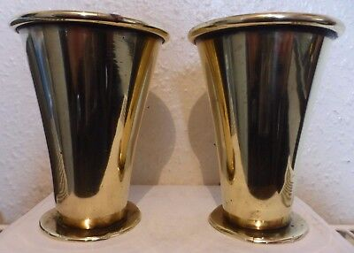 Vintage Indian Hand Crafted 2 Ornamental Brass Goblets  (Bb1)