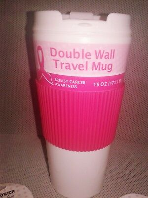 Double Wall 16oz Tall Travel Mug PINK Breast Cancer Awareness Ribbon Cup Lid NEW