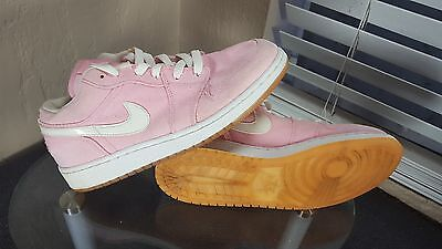 Nike Air Jordan 1 Low Girls Size 6Y Pink Canvas Basketball Shoes Sneakers