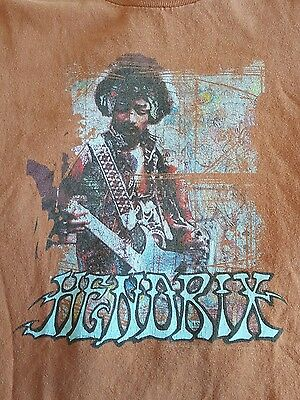 Jimi hendrix T Shirt Orange 60s 70s Large signature printed Woodstock C5