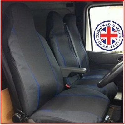 Volkswagen Vw Lt35 Single+Double Blue Piping Fabric Van Seat Covers