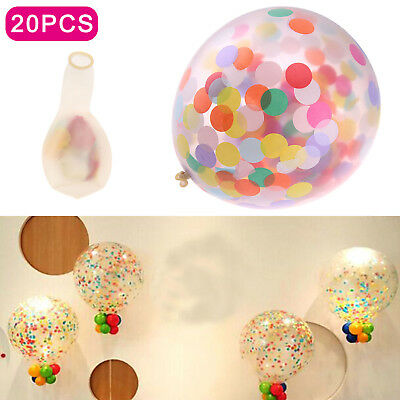 20Pcs Clear Confetti Filled Balloons Birthday Party Wedding Decorations Girl Boy