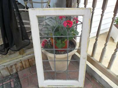Vintage Lead Glass Window in Sash-Orig Hardware~Painted~Architectural Salvage