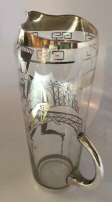 Vintage BF Goodrich Glass Silver Cocktail Pitcher Employee Executive Award