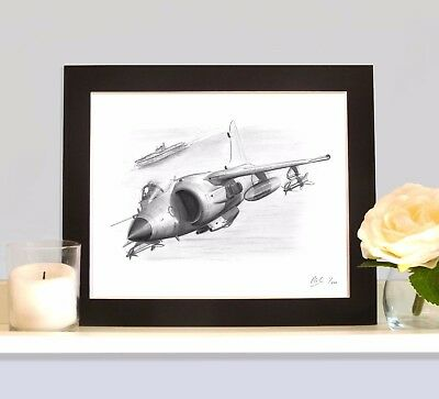 SEA HARRIER  HMS HERMES Art Print Drawing Picture MOUNTED Ideal Present Gift