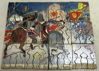 A bissected Japanese wood block print, jigsaw puzzle, genuine antique
