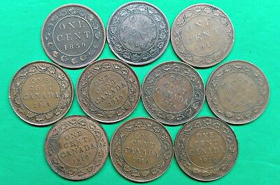 Lot of 10 Different Old Canada Large Cent Coins 1859-1920 !!