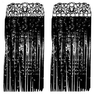Graveyard Haunted House Black Halloween Spooky Door Curtain Party Entrance
