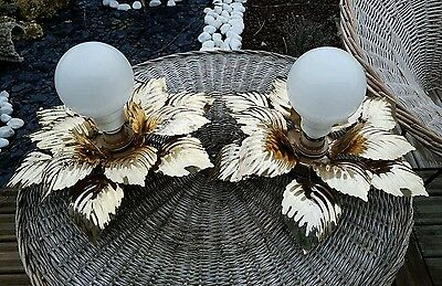 Pair French mid century Wall lights sconces floral leaves attr. maison jansen