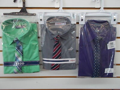 Boys Izod $30 Green, Gray, or Purple Dress Shirts w/ Clip-On Ties Size 8 - 20