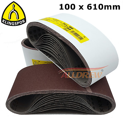 100 x 610mm KLINGSPOR Sanding Belts / Sandpaper 4'' x 24'' Electric Belt Sander