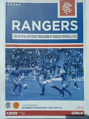 Rangers v Motherwell Ladbrokes Premiership 20/8/2016 Mint condition.