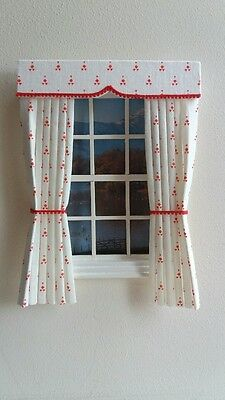 Dolls House Curtains Red Nutmeg Made In Laura Ashley Fabric