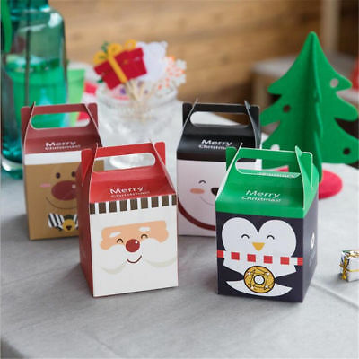 2/5X Christmas Animal Apple Party Paper Favour Gift Cupcake Lunch Carrier Boxes