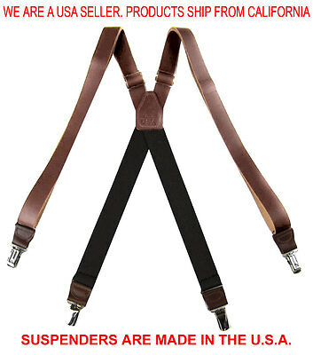 """Brown Premium Genuine Leather X Back Metal Clip Suspenders 1.0"""" Made in USA"""