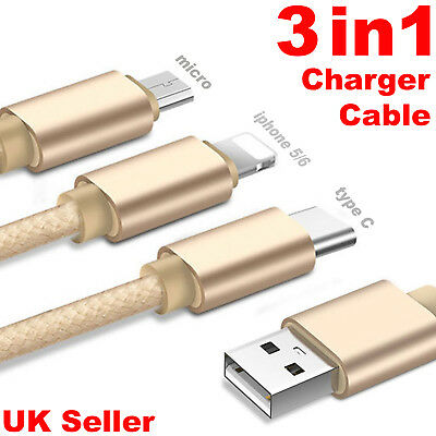 3 in 1 Long Multi USB Phone Charger Charging Sync braided cable lead for iPhone