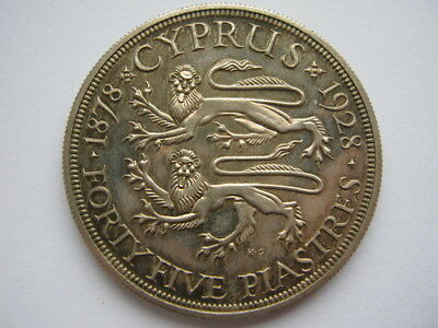 Cyprus 1928 silver PROOF 45 Piastres