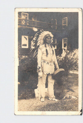 Rppc Real Photo Postcard American Indian In Full Dress With Drum Head Dress Mocc