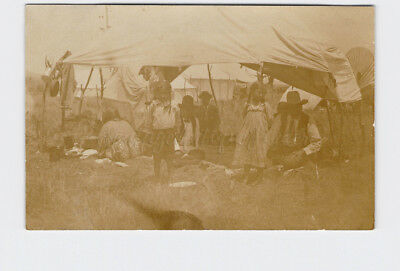 Rppc Real Photo Postcard American Indian Camp Children Tents Covered Wagon Cook