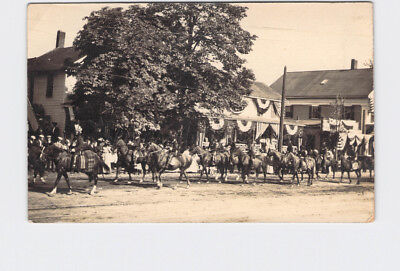 Rppc Real Photo Postcard American Indian Parade On Horses 4Th Of July? Flags And