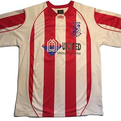 Umbro Vintage Ulsted Boldklub Red and White Striped Football Shirt #11 Size XL